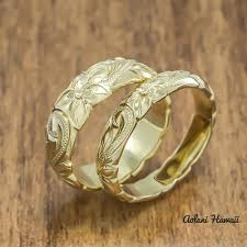 Hawaiian Wedding Rings by Gold Wedding Ring Set Of Traditional Hawaiian Hand Engraved 14k