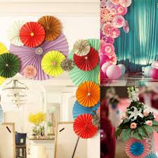 birthday home decorations home decor 15cm 3 layer lace paper fan tissue crafts hanging