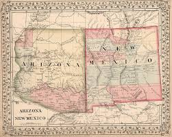 Tucson Arizona Map by Vintage New Mexico And Arizona Map 1868