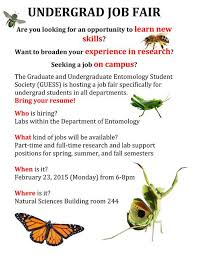 Resume For On Campus Job by First Ever Undergraduate Job Fair Hosted By Entomology And Guess