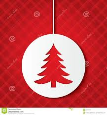 christmas ball with christmas tree cut the paper stock image