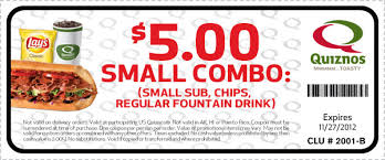 thanksgiving coupon for quiznos 5 combo