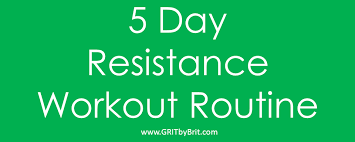 5 day work week 5 day resistance workout routine 5 days 5 unique workouts to