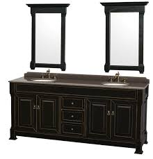 Antique Black Bathroom Vanity by Wyndham Andover Double 80 Inch Transitional Bathroom Vanity