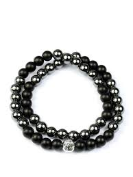 double bead bracelet images Men 39 s double beaded bracelet with hematite matte clariste jewelry png