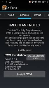 clockworkmod apk app recovery x parts cwm installer ver sony ericsson