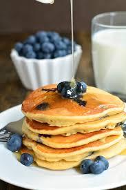 blueberry whole wheat buttermilk pancakes garnish u0026 glaze