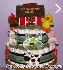 neutral diaper cakes animal barnyard