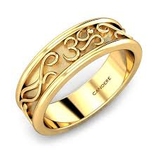 gold band yellow gold 22k rudra om gold band for him candere