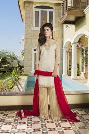off white fone and red color bridal dress g12971 exclusive