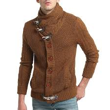cardigan sweaters cardigans sweaters brown m fashion horn button buckle