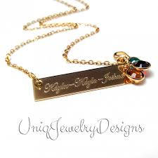 name and birthstone necklace personalized name bar birthstone necklace uniqjewelrydesigns