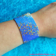 cuff bracelet tutorials images Peyote stitch beaded cuff bracelet pattern ocean haze jpg
