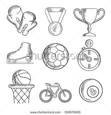 sketched sport games icons basketball soccer stock vector