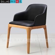 Leather Dining Chair With Arms Wood Armchair Chair Backrest Casual Restaurant Leather Dining