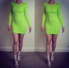 womens neon celeb stretch bodycon tunic party long sleeve evening