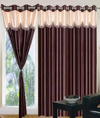 home sazz coffee brown valance set of 2 fancy window curtains 5