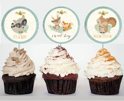 woodland baby shower decorations cupcake toppers printable