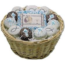 cookie gift baskets my communion boys cookie gift basket personalized cookies
