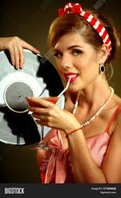 martini woman retro woman with music vinyl record pin up drink martini