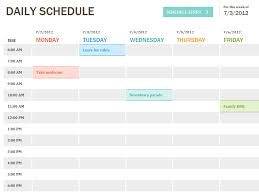 Excel Sheet Template Daily Schedule Office Templates