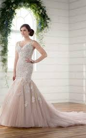 lace and tulle v neck fit u0026 flare wedding gown essense of australia