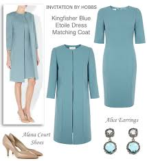 light blue shift dress and matching coat spring wedding