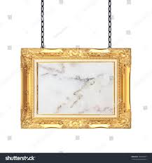 Hanging A Frame by Gold Frame Marble Signboard Hanging Chain Stock Photo 332054387