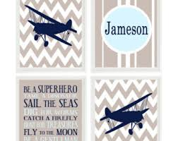 vintage airplane nursery chevron art print boy room biplane