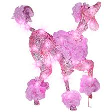 lowes outdoor christmas lights shop gemmy pre lit poodle with constant pink led lights at lowes com