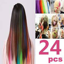 white hair extensions 24 pcs color opcc bundle 22 inches multi colors party highlights