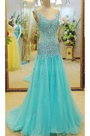 teal tulle shop discount blue v neck tulle bling open back mermaid prom