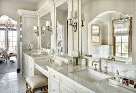 White Vanity Cabinets For Bathrooms French White Bath Vanity Cabinets With Mirrored Accents