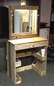 How To Make A Computer Out Of Wood by Vanity With Lighted Make Up Mirror Made From Reclaimed Wood Fun