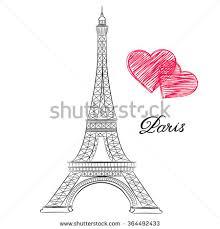 sketch paris eiffel tower hearts vector stock vector 364492433