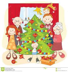 family around christmas tree clipart clipartxtras