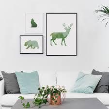 modern simple nordic style wolf bear deer animals shadow clip art