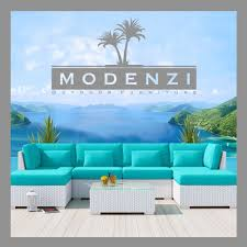 Turquoise Patio Furniture by Modenzi Deluxe 7c White Modern Outdoor Pe Wicker Sofa Patio