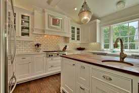 Kitchen With Subway Tile Backsplash Kitchen Cottage Kitchen With White Cabinets Also Rustic