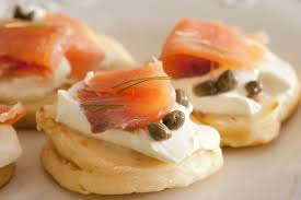 bellini canape up on fish blini appetizers free stock image