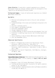 Resume Samples Leadership Skills by Unique Resume Example For General Maintenance Technician Job