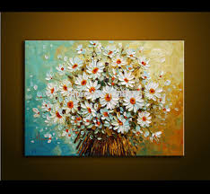 modern oil painting palette knife thick paint white colorful