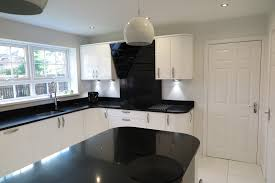 black gloss kitchen ideas signature porter white gloss and black quartz worktops tecaz