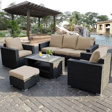 PC Outdoor Patio Sectional Furniture PE Wicker Rattan Sofa Set - Rattan outdoor sofas