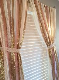 Pink And White Curtains For Nursery Pink Gold Sparkle Sequin Garland Curtain With Lace Nursery