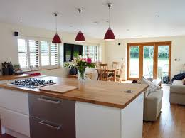 kitchen island unify wooden table top under lovely pendant lamp