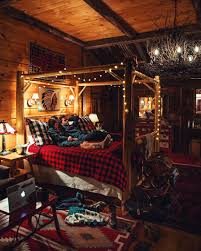 Log Cabin Home Decor Buffalo Check Bedding White String Lights Twig Chandelier Log