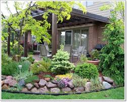Rock Garden Plant Architecture Beautiful Backyard With Green Plants And Rock