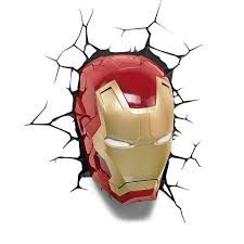 the avengers 3d wall art home lighting lamp iron man mask night