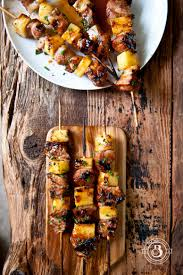 beer brined pork and pineapple skewers with apricot chili glaze
